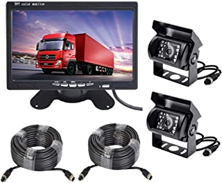 Vehicle Backup Camera and 7 inch Screen Monitor Kit,2 x IR Night Vision Reverse Rear View Camera System with 4 Pin 15m 20m Cable for RV Truck Trailer Bus Camper Motorhome