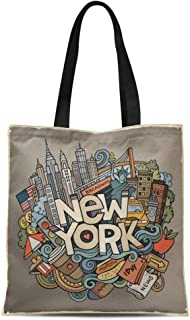 Semtomn Canvas Tote Bag Cartoon Cute Doodles New York Inscription Colorful American Line Durable Reusable Shopping Shoulder Grocery Bag