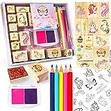 PowerKing Jeu de Timbres pour Les Arts et l'artisanat - Enfants Peinture Licorne Stamper Jouets avec Crayons de Couleur et Autocollant - Cadeau de fête des activités de Noël pour Enfants