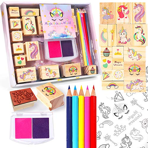 Unicorn Wooden Stamp and Sticker Activities Set for Girls, Stampers, Inkpad, Coloring Pencil, Sticker Included, Arts & Crafts Set for Kids, Boys and Girls Teen Ages 4 5 6 7 8 9 10 Years Old