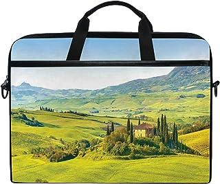 LIASDIVA Laptop Bag,Rural Landscape Cypresses Along The Path to Ancient Vineyard Farm House,Multi-Functional Laptop Shoulder Messenger Bag for MacBook 15-15.4 inch Notebook for Men Women