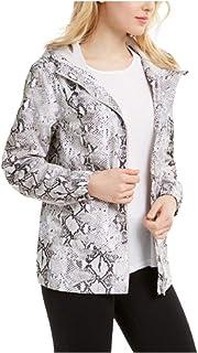 Ideology Womens Snake-Print Hooded Jacket Large