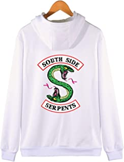 SERAPHY Unisex Riverdale Zip Up Hoodie Southside Serpents Printed Outerwear Zipper Jacket Hooded Sweaters