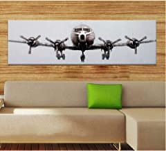 SANSNMI 100% Handpainted Airplane Art Painting On Canvas By Skilled Artist For Wall Art Decoration,30x90cm