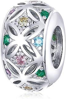 Abalorio espaciador de plata con diseño de flores de circonita cúbica colorida, compatible con pulseras y collares Pandora.
