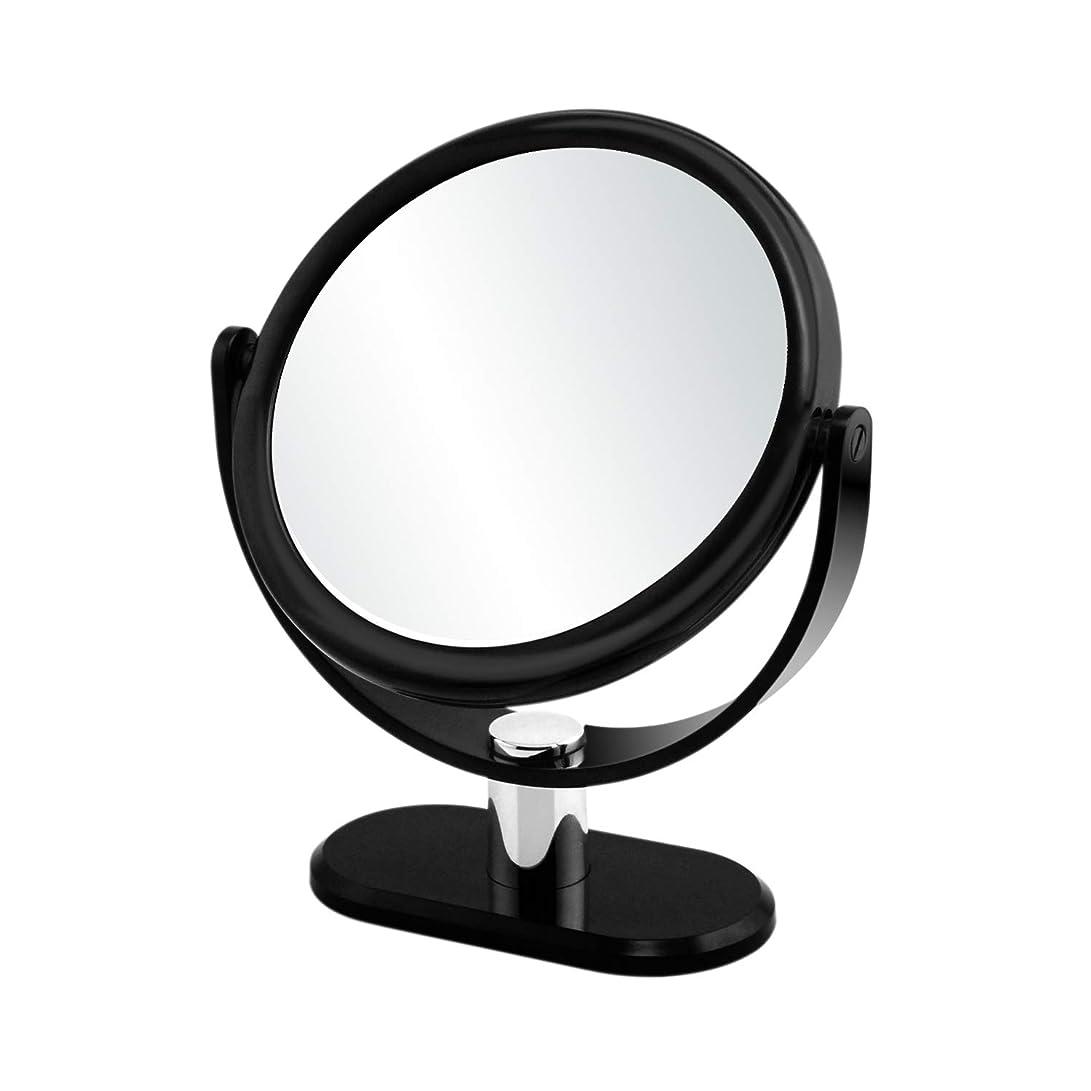 噴出する美容師行政GorwRich ブラック卓上鏡 化粧鏡 スタンドミラー 女優ミラー 卓上ミラー 両面鏡 7倍拡大鏡と等倍鏡