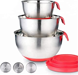 Stainless Steel Mixing Bowls with Lids - Nesting Bowls with Graters, Handle, Pour Spout, Airtight Lids - Non-Slip Mixing B...
