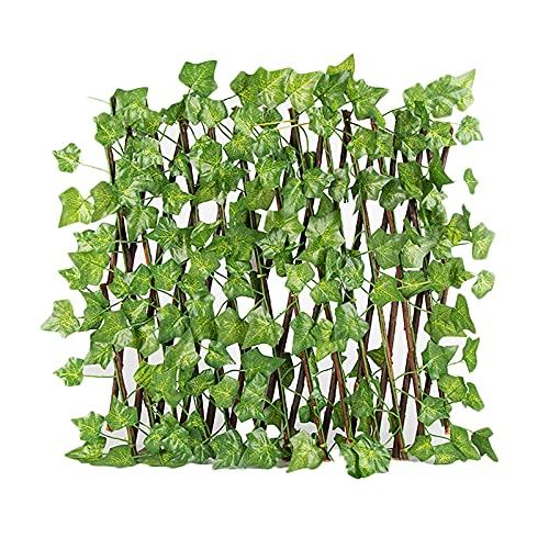 FXforer Valla de madera plegable con hojas de patata, puerta divisor de pantalla de jardín flexible, valla de marco de exhibición de macetas, soporte de enrejado para sala de estar, balcón, pa