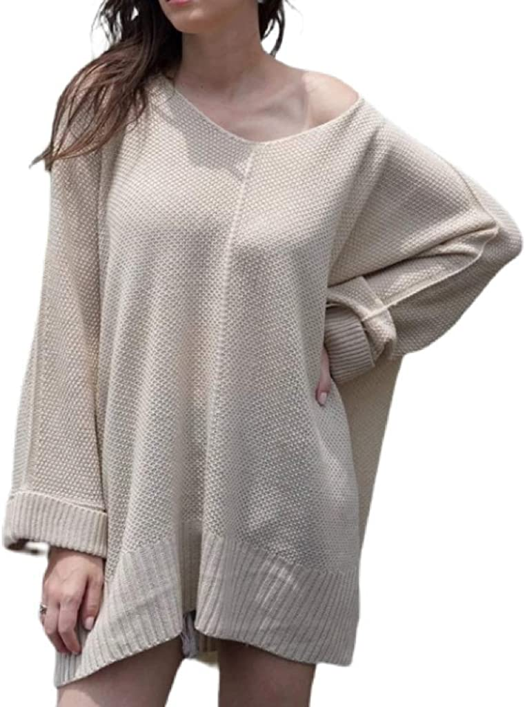 Buywise Women's Winter Spring Loose Long Sleeve Above Knee Pullover Sweater