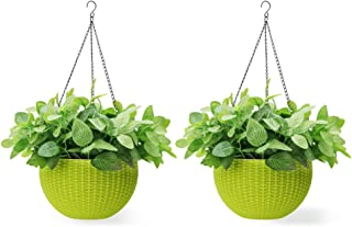 Homes Garden 10.5 in. Dia Plastic Rattan Hanging Planter Green (2-Pack) Flower Plant Hanging Basket for Home Office Garden Porch Balcony Wall Indoor Outdoor Decoration Gift #G725A00
