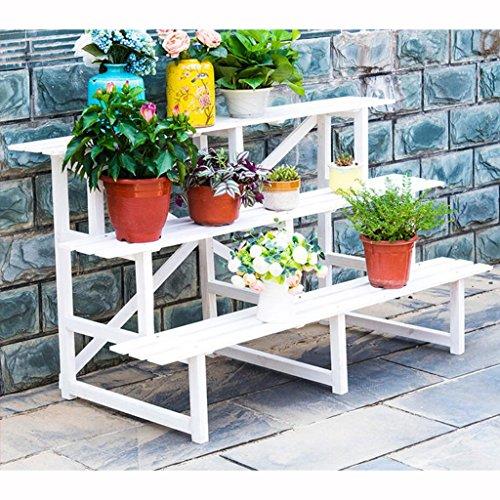 ZMM - support de fleurs Support de fleur en bois massif Support de plante Support de fleur pour balcon intérieur Support de sol en multiplis Support de fleur en trois dimensions (Couleur : B)
