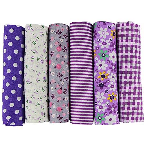 UOOOM 6pcs 50x 50cm, diseño de retales algodón Tejido DIY hecho a mano Costura Quilting tela diseños diferentes (Púrpura)