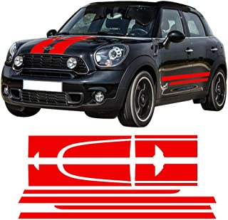 CHARMINGHORSE Decal Sticker Stripe Kit for Mini Countryman Cooper S Racing Hood Side Trunk JCW Vinyl Stickers- White/Black/Red/Gold to Choose (RED)