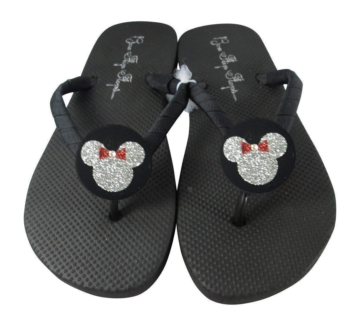 Red Fashionable and Silver online shopping Glitter Minnie Sandals Customiz Flop Disney Flip