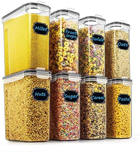 Wildone Lot de 8 récipients hermétiques pour céréales et aliments secs - capacité de 2,5 L pour sucre, farine, etc - couvercle anti-fuites noirs