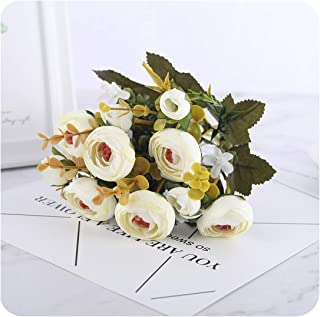 Tamia-Romtic Silk DIY Daisy Camellia Artificial Flowers Small Rose Bride Xmas Party Decor Faux Fake Flowers Wedding Home Decoration,Rose White