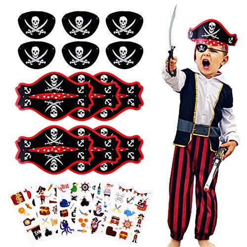 Herefun 18pcs Piraten party Set, Piraten Zubehör Set Kinder Jungen, 6 Kinder Piratenhut + 6 Pirat Filz Augenklappe + 6 Piraten Tattoos, Piraten Kindergeburtstag Mitgebsel für Piraten Halloween party