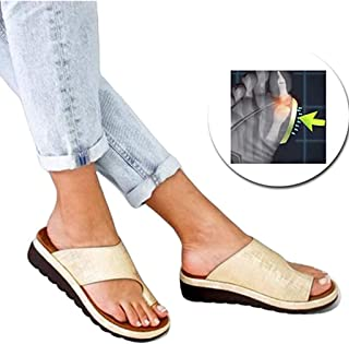 Open Toe Big Toe Orthopedic Bunion Corrector, Comfy Flat Flip-Flops Beach Shoes Summer Ladies Platform Sandal Shoes,E,36