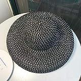 Gorra proteccion solar,Sombrero de paja negro retro sombrero para el sol protector solar vacaciones playa playa sombrero femenino verano ala grande sombrero para el sol sombrero-negro_M (56-58 cm)