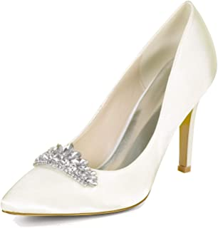 Women's Wedding Bridal Shoes Satin Pointed Toe Rhinestone High Heels Evening Prom Party Shoes