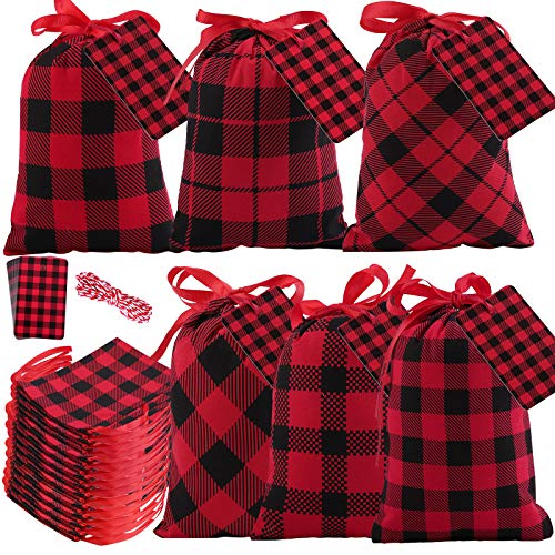 Aneco 16 Pieces Mini Christmas Red and Black Plaid Drawstring Bag 7.8 by 5.9 Inches Cotton Xmas Bag Candy Sack Stocking Storage with 20 Pieces Tags