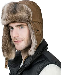 f2e8ed166d4 SIGGI Men s Faux Fur Trapper Hunting Hat with Earflap Mask Russian Ushanka