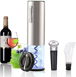 Lacyie Sacacorchos Eléctrico Abridor de Vino, Abrelatas de Vino Eléctrico Profesional Recargable USB Cortador de Papel, Vertedor, Tapón de Vino Silicona de Vacío, Kit Regalo de Vinos para Casa, Cena