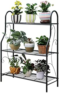 JOANNA'S HOME Metal 3 Tier Plants Stands Potted Flower Stand Indoor Outdoor Home Storage Book Organizer Shoes Shelf - Black
