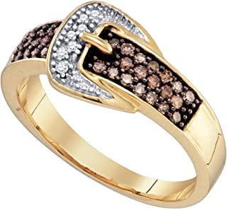 Brown Diamond Buckle Ring Solid 10k Yellow Gold Belt Band Fashion Style Round Cluster Set Fancy 1/4 ctw