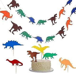 Dinosaur Party Set, 3 Pack Dinosaur Party Banner Happy Birthday Banner Colorful Felt Dinosaur Garland with Dinosaur Cake Topper