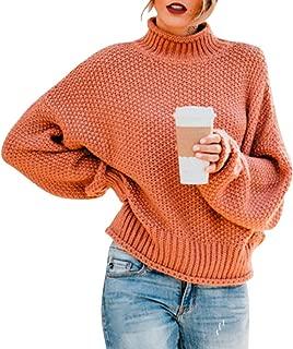 Exlura Women's Casual Long Sleeve Chunky Turtleneck Knit Pullover Sweater