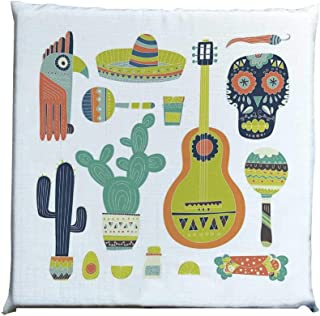 YOLIYANA Fiesta Durable Square Chair Pad,Symbols from Mexico Guitar Face Aztec Mask Tequila Skull Musical Instruments Taco Decorative for Bedroom Living Room,One Size