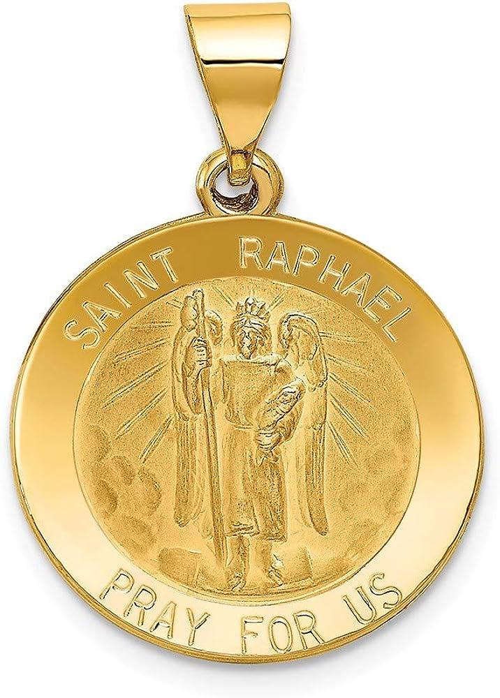 14k Yellow Gold Catholic Patron Saint Raphael Medal Brushed Matte Finish Pendant Charm - 22mm x 20mm