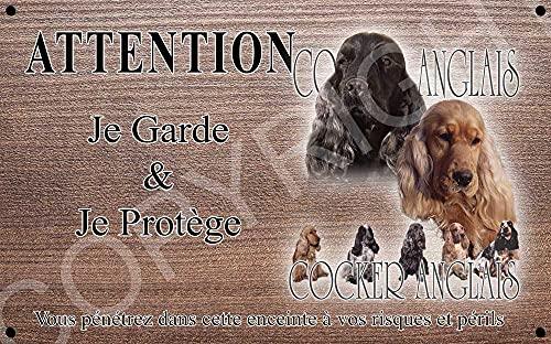 Pets-Easy.com Attention Chien de Garde personnalisée Cocker Anglais - pré percée et vis fournies. De 30 cm à 15 cm…
