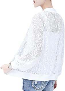 Women See Through Bomber Jacket Long Sleeve Stand Collar Zipper Transparent Jacket