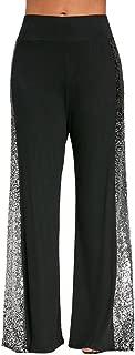 Women Stitching Pants Womens Girls Shining Casual Wide Leg Pants Gradient Sequin Side Insert Maxi Trousers