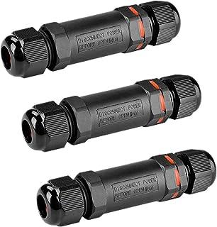 VOARGE 3-biegunowy łącznik kablowy, wodoszczelny IP68, do kabli o średnicy 1-13 mm, zestaw 3 sztuk, wodoszczelny IP68, muf...