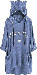 SADUORHAPPY Plus Size Sweatshirt Tops Womens Hooded Blouse Girls Casual Cat Ear Print Short Sleeve Pockets T Shirt Tunic