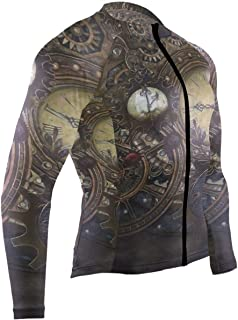 SLHFPX Steam Train Mens Cycling Jersey Top Full Sleeve Road Cycle Skinsuits Outfit