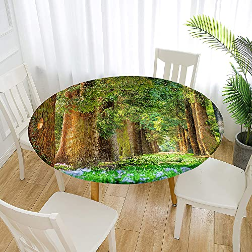 Fansu Impermeable Redondo Mantel con Borde Elástico, 3D Impresión Mantel de Mesa Elástica Ajustada Cubierta de Mesa para Picnic Comedor Cocina Restaurante Cena (Bosque,Diámetro 90cm)