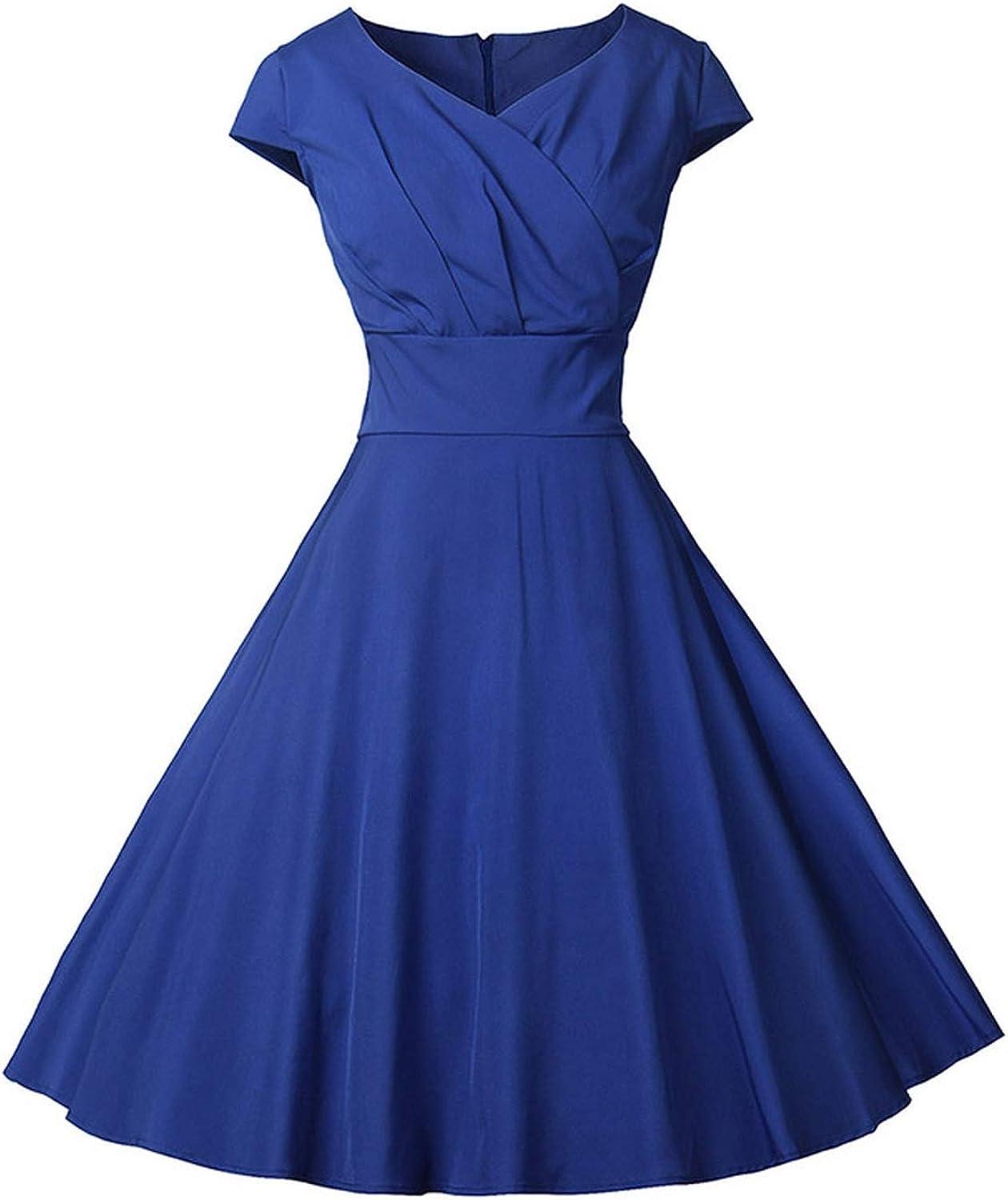 VNeck Print Dresses New ShortSleeved Dot Retro Dress Slim Ruffles Ball Gown Vintage Zipper