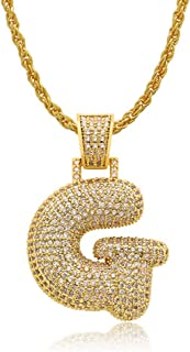 Grance A-Z Bubble Initial Letter Necklace in Silver Gold Custom Unisex 0-9 Bubble Number Necklace Iced Out Chain for Men Toddler Kids Adult Women