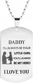Stamped Stainless Steel Dog Tag Necklace Engraved Words for Dad with 24