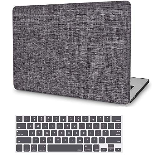 MacBook Pro 13 Inch Case 2019 2018 2017 2016 Release A2159 A1989 A1706 A1708, JGOO Fabric Slim Plastic Hard Shell Cover Case with Keyboard Cover for Apple MacBook Pro 13 with/Without Touch Bar, Grey