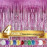 Winko Cortina de flecos de papel de aluminio rosa, metalizada, para decoración de bodas y festivales especiales (4 unidades, 30 x 20 cm)