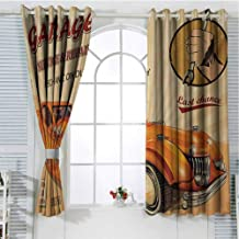 Retro Pattern Curtains Blackout Vintage Garage Advertising Artsy Worn Print with Engines and Mechanical Symbols Bedroom Decor Living Room Decor W72 x L96 Inch Orange Cream Red