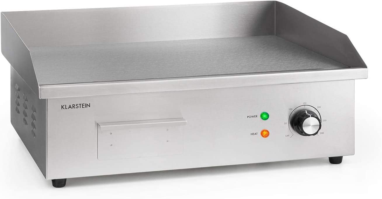 Klarstein Grillmeile 3000G Pro plancha de hierro fundido eléctrica - superficie de 54,5 x 35 cm, temperatura de 50 a 300 °C, 3000 W, antisalpicadura y recoge la grasa en una bandeja, acero inoxidable