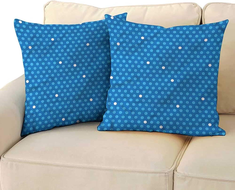 Godves Velvet Pillowcase bluee Bold Polka Dots Retro Kids Velvet Soft Soild Decorative 20 x20  2 Pcs