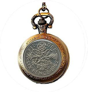 Vintage UK Sixpence Coin Image 1962- Sixpence Keychain -Six Pence Pocket Watch Necklace