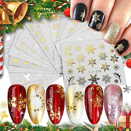 Hanzel Gold&Silver Christmas Nail Art Water Transfer Stickers - 16pcs Mixed Metallic Nail Stickers,Winter Manicure DIY Nail Decals, Snowflake Christmas Tree Elk Art Design Nail Decorations